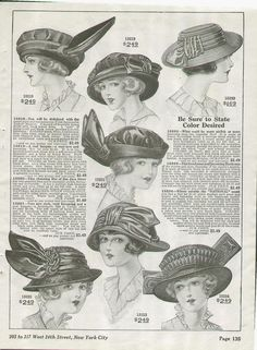 Vintage Millinery Fashion Page, dated 1914 (Image1)