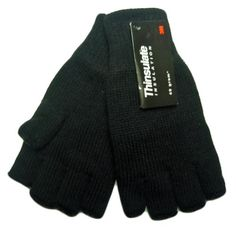 cool Mens Womens Black Fingerless Thinsulate Lined Thermal Knitted Gloves Check more at http://pixeldome.co.uk/shop/clothing/mens-womens-black-fingerless-thinsulate-lined-thermal-knitted-gloves/
