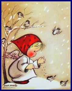 Vintage Christmas Card by Eva Harta ~ Little Girl & her Birdies Vintage Christmas Images, Vintage Holiday, Christmas Pictures, Christmas Angels, Christmas Art, Winter Christmas, Illustration Noel, Christmas Illustration, Vintage Greeting Cards