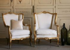 Vintage Shabby Louis XV French Style Wingback Bergeres
