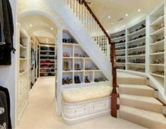 """"""" Today, the walk-in closet is a must-have on many buyers' wish list. Some homeowners are paring down a four-bedroom home to three by transforming one bedroom into an oversized walk-in closet."""" - 5 Things Home Buyers Want In 2013 from Forbes Dream Closets, Dream Rooms, Dream Bedroom, Big Closets, Girls Dream Closet, Classy Closets, Casa Clean, Walk In Closet, Shoe Closet"""