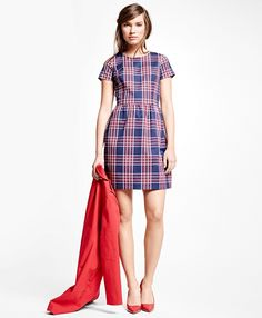 Cotton Blend Plaid DressNavy-Red