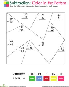 Worksheets: Color by Number: Practice Two-Digit Subtraction 1