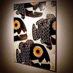 """104x150cm, duralit üstüne akrilik boyama/acrylic on hardboard, 2015.  @artrooms.arkingroup @oyasilbery #gokhanokur #fishdrawing #fishing #fish #fishart…"""