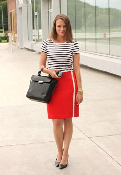 Striped tee + pencil skirt - kinda dig this combo of stripes and solid red for a graphic design layout!
