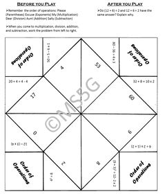 This fun learning tool will bring you back to your own elementary days! Students create and play with these things all the time, so why not make it educational? This particular fortune teller includes practice with the order of operations. Follow the instructions in the packet to create this tool. Use as individual activities or as a center activity.