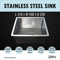 ... Single Bowl Stainless Steel Kitchen Sink Laundry Trough Round Edges