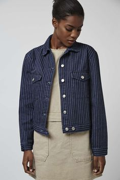 The denim jacket gets a tailored twist this season. Our MOTO denim jacket goes for boxy styling with classic pinstripe detail. Comes with a full length button placket and chest pockets. #Topshop
