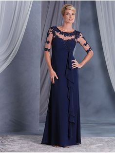 Long Navy Blue Illusion Bodice Lace Chiffon Mother of The Bride Dresses 907012
