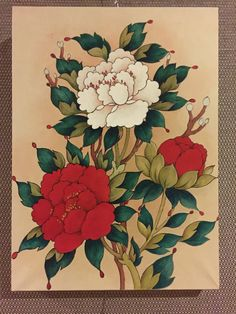 Peonies. Oriental Painting. Oriental water color & fine details Peonies for many blessing