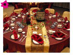 Combinación de color dorado para una boda color rojo