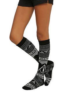 Harry Potter Deathly Hallows Fair Isle Knee-High Socks, , hi-res Harry Potter Socks, Harry Potter Outfits, Harry Potter Love, Hairpin Lace Crochet, Harry Potter Merchandise, Harry Potter Deathly Hallows, Crochet Socks, Knee High Socks, Cool Socks