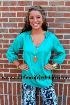 Kaitlyn Blouse- Teal $42.99!