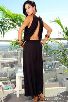 1015store.com-black drop waist backless long maxi dress-$15.00