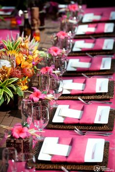 Beautiful tropical tablescape place settings for dinner party, wedding, baby or bridal shower, birthday, anniversay...love the hot pink with the tropical flowers