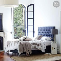 Flashback to our SOHO featured in Home Beautiful Magazine Australia 💙  If you like tradition with a twist then 'Soho' is for you! She sits perfectly in both a modern or more traditional bedroom. www.heatherlydesign.com.au