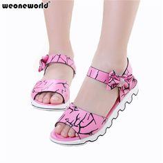WEONEWORLD Children Shoes Girls Sandals 2017 New Summer Girls Leather  Lovely Bowtie Princess Teens Sandals Kids 4a73641e31cf