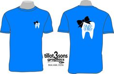 Personalized tooth monogram shirt with bow by tillot3sonsgraphics