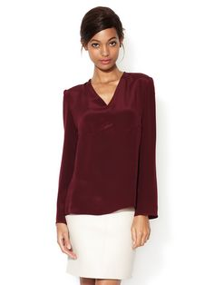 Silk Crepe V-Neck Blouse by Derek Lam at Gilt