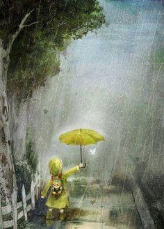 Imagen de rain, art, and umbrella Walking In The Rain, Singing In The Rain, Illustrations, Illustration Art, I Love Rain, Rain Art, Umbrella Art, Yellow Umbrella, Rain Drops