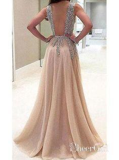 A-line V-neck Evening Dress with Slit Sexy Shiny Rhinestone Long Prom  Dresses 3afef01ba576