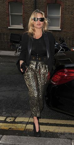 Kate Moss in patterned pants for day-to-night dressing.