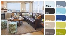 Paint colors from Chip It! by Sherwin-Williams- love the soft blue and the poofs