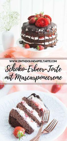 Tolles und köstliches Rezept für eine Schokoladen-Erdbeer-Torte mit Mascarpone-Creme .... ganz einfach backen und ein tolles Törtchen zu Muttertag, zur Kaffeestunde oder für Konfirmation oder Kommunion zaubern. #Torte #Schokolade #erdbeeren #nakedcake