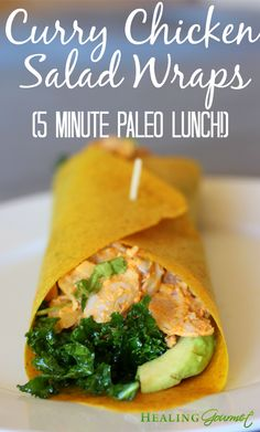 This quick and delicious recipe for Paleo Curry Chicken Salad Wraps takes just 5 minutes for a healthy and delicious lunch!
