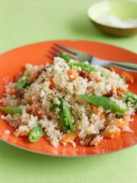 quinoa risotto with carrots and sugar snap peas