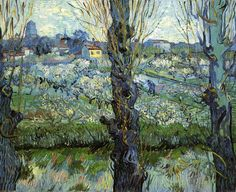 Vincent van Gogh (Dutch, Post-Impressionism, 1853-1890): Orchard in Bloom with Poplars, 1889. Created in Arles, France. Oil on canvas. Neue Pinakothek, Munich, Germany.