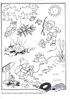 Co nepatří do lesa? Earth Day Coloring Pages, Coloring Pages For Kids, Preschool Education, Teaching Kids, Drawing For Kids, Art For Kids, Daily Schedule Kids, Picture Comprehension, Picture Composition