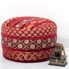 Red Pouf Ottoman, pouffe pouffes, Foot Stool, Indian Round Pouf Ottoman, Bean Bag, Floor Pillow Ottoman, Indian Pillow Poof Ottoman via Etsy
