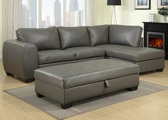 RICHARD The Richard sectional and ottoman are must-have pieces for any modern living room. Wrapped in a steely gray reconstituted leather and featuring light tufting on geometric style lines, Richard is completed with abundantly stuffed back cushions and black slightly flared feet. The optional ottoman pulls up to reveal convenient storage space.