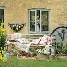 Pretty country garden! I want to paint my garden furniture now! Light grey, white, cream or pale green..?