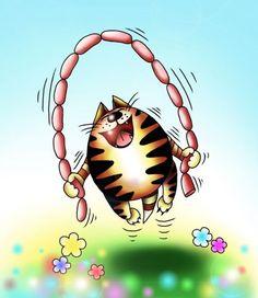 котячий гон - карикатура, кот