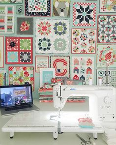 Designer of Thimble Blossoms patterns, half of Bonnie & Camille fabrics, mom of 3 boys. I love cookies almost as much as I love to make quilts. My Sewing Room, Sewing Rooms, Love Sewing, Wonderful Machine, Love Machine, Longarm Quilting, Machine Quilting, Straight Line Quilting, Pillow Inspiration