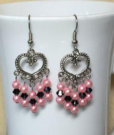 Pink Pearl & Black Beaded Dangle Earrings by MonicaWilgaDesigns