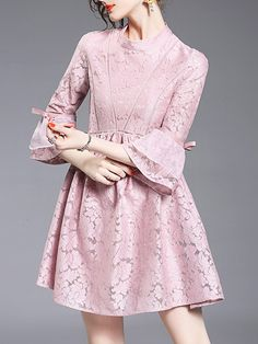 SheIn offers Pink Contrast Organza Lace Dress & more to fit your fashionable needs. Lace Dresses, Simple Dresses, Elegant Dresses, Short Dresses, Party Dresses, Dress Brokat, Kebaya Dress, Fashion Dresses, Hijab Fashion