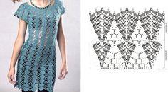 graficos e molde de vestidos de croche