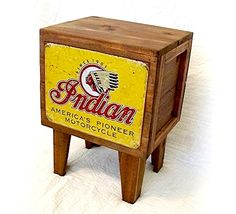 Reclaimed and re-finished Indian Motorcycle box table.