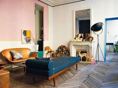 """A Midcentury """"Magical Fairy"""" Bedroom Project Intro + A Completely Reversible Paint Trend We're Trying (Emily Henderson) Pink Walls, White Walls, Fairy Bedroom, Eileen Gray, Bold Wallpaper, Design Palette, Living Spaces, Living Room, Mid Century House"""