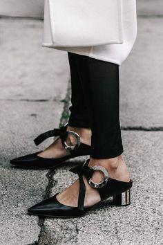 Kitten heels, Slingbacks, Daily inspiration, Fashion, Black, White