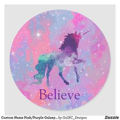 Custom Name Pink/Purple Galaxy Unicorn Sticker - Super cute unicorn stickers that are a perfect addition to any kids birthday party. For more sticker choices visit our board. Kids Stickers, Star Stickers, Custom Stickers, Unicorn Bed Set, Unicorn Fantasy, Unicorn Stickers, Galaxy Art, Galaxy Room, Unicorn Birthday
