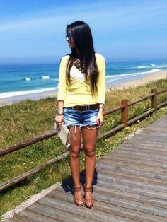 mydreamsofseams Outfit  chic  Primavera 2013. Combinar Jersey Amarillo suave Pull