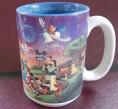 Walt Disney World COFFEE MUG cup Celebrate the Future Hand in Hand 2000