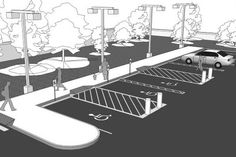 Parking Lot Line Painting, Pavement Markings, Parking Lot Design - Toronto Car Park Design, Parking Design, Landscape Architecture Design, Architecture Details, Parking Plan, Parking Space, Parking Lot Painting, Warehouse Design, Durham Region