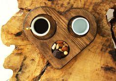 Türk kahvesi ahşap tabak, ücretsiz logo ve isim kazıma