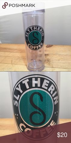 Sparkly Slytherin Coffee Skinny Tumbler This is a 17 oz double walled skinny tumbler. It features Slytherin Coffee design with black and sparkly green vinyl.   We can do this for other Hogwarts Houses as well. Just ask :) Other
