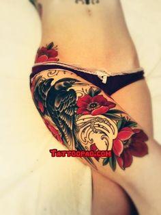 thigh tattoos, bird tattoos and flower tattoos. #tattoo #tattoos #ink